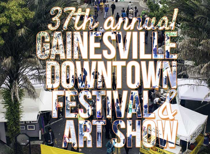 people walking the art festival with the words overlaid Downtown Gainesville festival and art show 2018