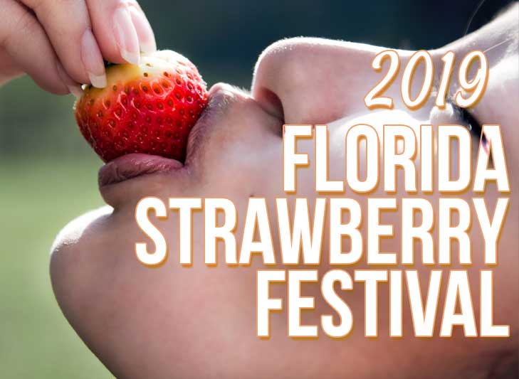 woman eating strawberry celebrating florida strawberry festival 2019